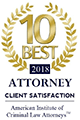 Logo Recognizing The Wilson Law Firm's affiliation with American Institute of Criminal Law Attorneys: 10 Best 2018