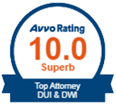 Logo Recognizing The Wilson Law Firm's affiliation with AVVO Rating 10 Top Attorney DUI & DWI