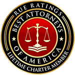 Logo Recognizing The Wilson Law Firm's affiliation with Rue Ratings Best Attorneys of America, Lifetime Charter Member